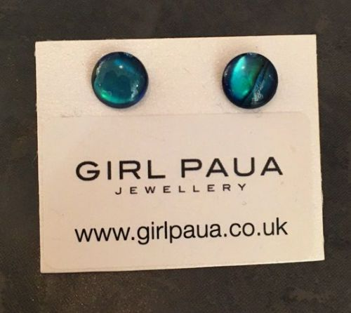 Paua Stud Earrings PE04 8mm BLUE CIRCLE (Medium 3)